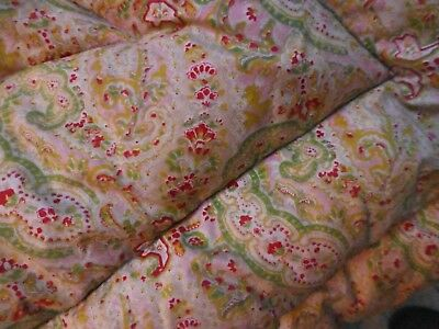 vintage 1930s 1940's feather filled quilt single paisley greens beige