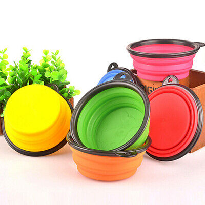 Portable Pet Dog Silicone Collapsible Travel Feeding Bowl Water Dish Feeder Intr