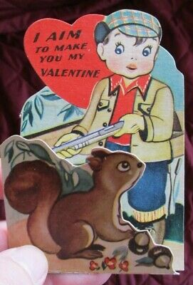1950s Squirrel HUNTING VALENTINE, fold out, vintage