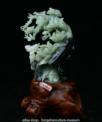 "13.2"" Chinese Green Xiu Jade Jadeite Carved Peony Flower Birds Statue Sculpture"