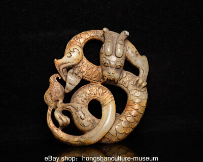 "3.4"" Ancient Hetian Jade nephrite Carved Feng Shui Dragon Loong Animal Pendant"