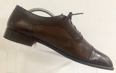 VITO RUFOLO Mens Dress Shoes Oxford Brown Leather Cap Toe Brogue Italy 11M 11