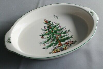 """Spode Christmas Tree Large Oval 13.75"""" Two Handled Serving/Lasagne/Gratin Dish"""