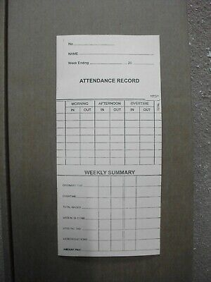 1000 x weekly clocking in/ clock cards ref: 107221