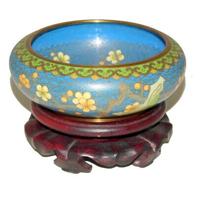 a lovely Chinese vintage cloisonne decorated with prunus flower on tree & rock