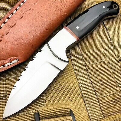 """7.5"""" Skinner Hunting Survival Fixed Blade Camping Tactical Full Tang Horn Knife"""
