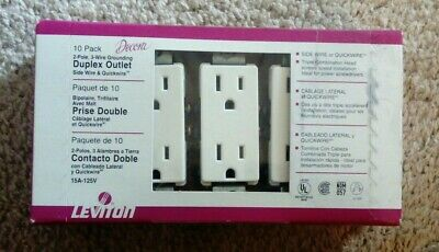 Leviton Decora White Outlets 15A-125V New - 5325-Wmp 10 Pack New Sealed