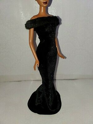 Black Dress for Doll -Handmade Clothes for doll 11.5-12in