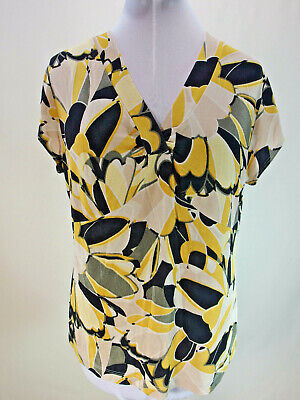 CHICO'S Travelers 3, 16 Yellow Black Top Floral V-neck Short Sleeve Acetate