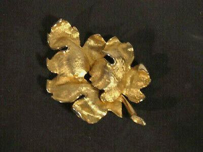 Large vintage Judy Lee Oak Leaf Pin signed 3D layers of leaves mid century