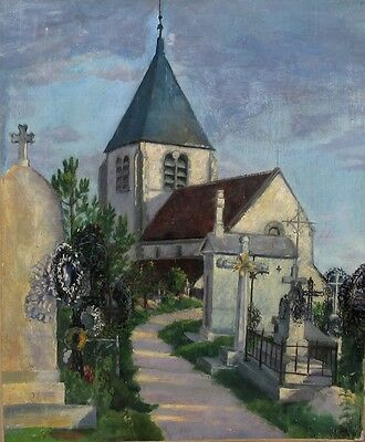 Antique French Oil Painting, Village Church and Cemetery, Signed Godeau, 1900