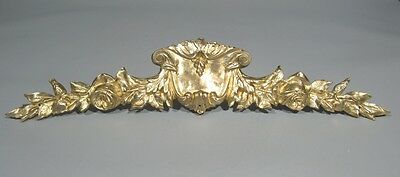 Large Antique French Bronze Furniture Pediment Decoration Shell Roses, 15 Inches