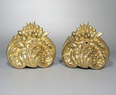 Pair of Antique French Gilded Bronze Handles, Shell, Flowers,Rococo