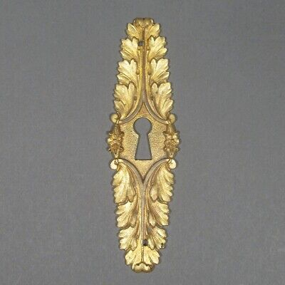 Antique French Gilded Bronze Escutcheon, Key Hole Cover, Flowers, Numbered