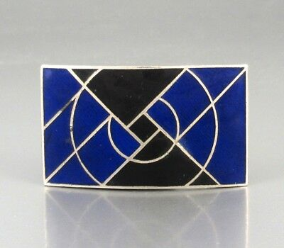 Vintage French Art Deco Belt Buckle, Blue and Black Enamel