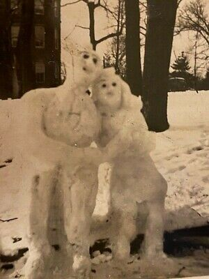 Vintage Photo Ice Sculpture Lovers Valentines Day 1945 Old Picture