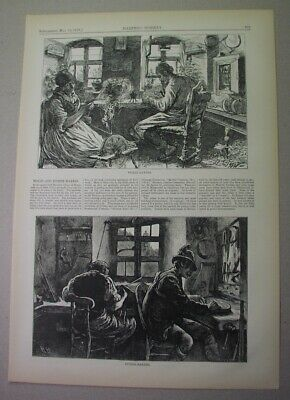 1873 print: VIOLINS & ZITHERS makers in Bavaria - 2 views & text; Mittenwald