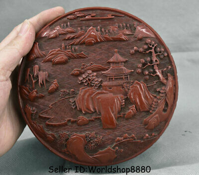 """5"""" Marked Old Chinese Red Lacquerware Dynasty landscape Jewelry box jewel case"""