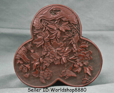 """7"""" Marked Old Chinese Red Lacquerware Dynasty Flower Jewelry box jewel case"""