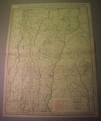 1922 VERMONT map - large 20x27 inches Rand McNally; railway lines