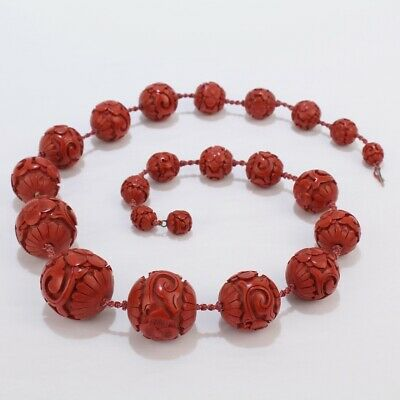 Antique Chinese Cinnabar Graduated Beaded Necklace with Large Beads - VR