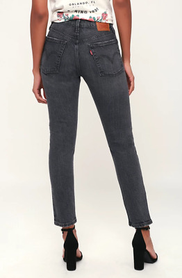 Levis 501 Skinny Jeans High Waist Slim Straight Coal Black Washed Free People