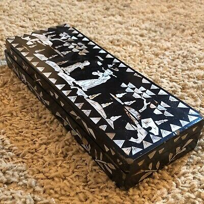 Antique Chinese Wooden Black Lacquer Box Asian Decor Mother Of Pearl Chipped