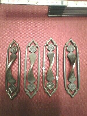 4 Vintage Old Antique Ornate Brass Twisted Door Handle - gothic - victorian