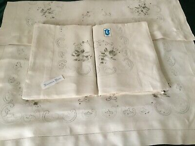 Beautiful Vintage PURE LINEN Bed Sheet Set Ecru Hand Embroidered Italy New QS KS