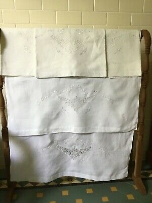 Exquisite VINTAGE Pure LINEN Guest SHOW TOWELS CANTÙ LACE embroidery. Made Italy