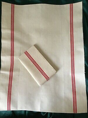 2 Large Rustic Antique FRENCH LINEN Kitchen Tea Towel TORCHON Red Stripe. Unused