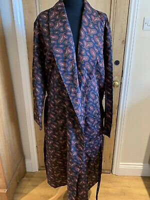 Vintage 80s St Michael Dressing Gown Blue Red Paisley House Coat M&S Size Large
