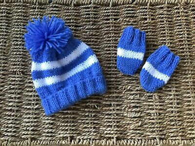 New Hand Knit Chelsea Fc  Unisex Blue And White Stripe Pom Pom Hat And Mitts S