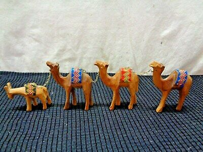 Set of 3 Wood Carved Camels With Lead Donkey (HKS2)