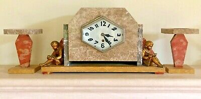 Beautiful and unusual antique French marble garniture mantel clock