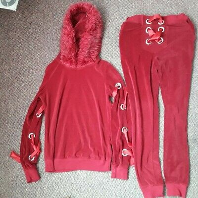 Red Tracksuit with Ribbon Lace up detail Size Small / fit inside leg 28""