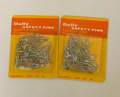 125 Assorted SAFETY PINS PACK Large Medium Small Silver Chrome Sewing Craft UK