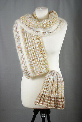 P361/72 Hand Knit Wool Beige Scarf Wrap Shawl and Hat Set