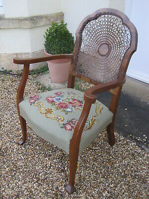 Arts Nouveau/Arts and Crafts Bergere Chair with Needlepoint Seat A1