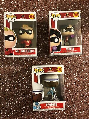 Funko Pop Incredibles 2 Lot #363, #365 & #368 Figures. Condition Is New.
