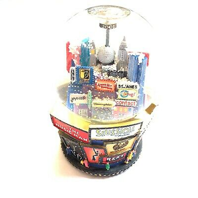 """2001 New York City Musical Snow Globe Broadway Twin Towers Plays """"Let It Snow"""""""
