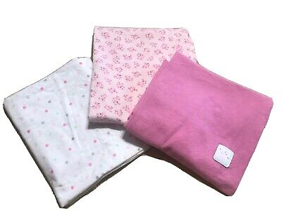 3 Pieces Set Carter's Blanket Throws Baby Girl Infant Fabric Nappy Cloth Cotton
