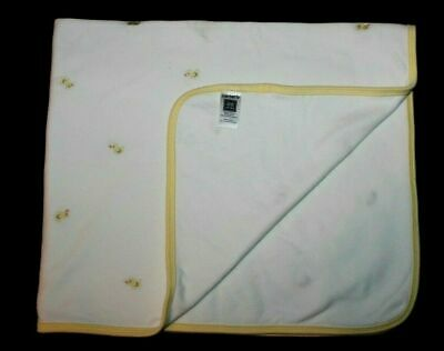 Carters White Baby Blanket Ducks Yellow Trim Cotton 2 Ply Security Lovey