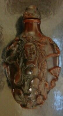 Chinese Reproduction Superb Natural Horn Look Carved Buddha Snuff Bottle