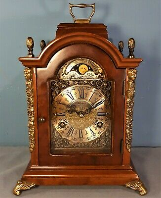 Dutch Warmink 8 Day Moonphase Mantel Clock, Key Wind, Double Bell, Working order