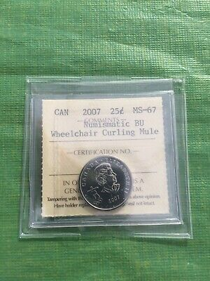 VERY RARE 2007 Twenty Five Cent Olympic Wheel Chair Curling Mule Graded MS-67