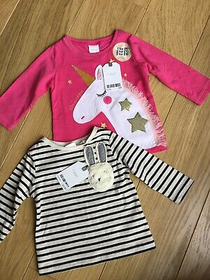 BNWT Next Baby Girl Long Sleeved Tops Unicorn Striped Bundle 🦄 3-6 Months New