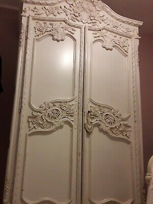 Stunning Carved French Armoire Shabby Chic Style White Large Great Condition!