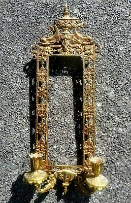 Antique Ornate Brass Metal Candle Wall Sconce & Mirror Or Picture Frame Dolphin