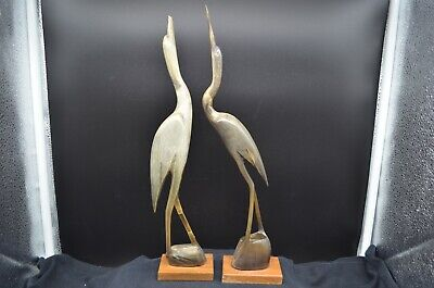 Pair of Vintage Artistic Horn Carved CRANE Birds on Wood Bases, Made in India